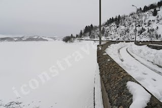 Λίμνη Πλαστήρα φράγμα, η λίμνη παγωμένη, Φεβρουάριος 2012